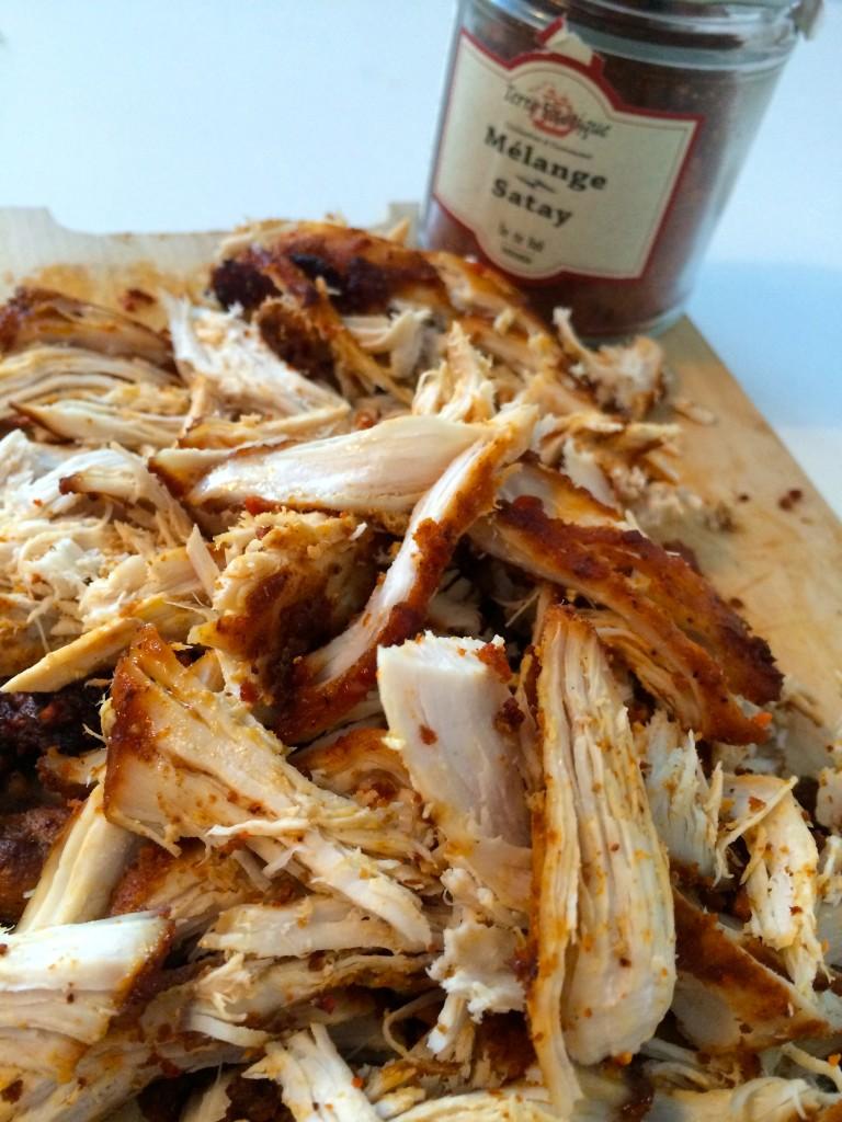 Pulled chicken med satay mix